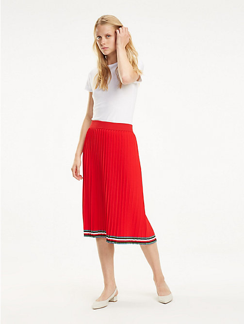 TOMMY HILFIGER Pleated Midi Skirt - TRUE RED - TOMMY HILFIGER Skirts - main image