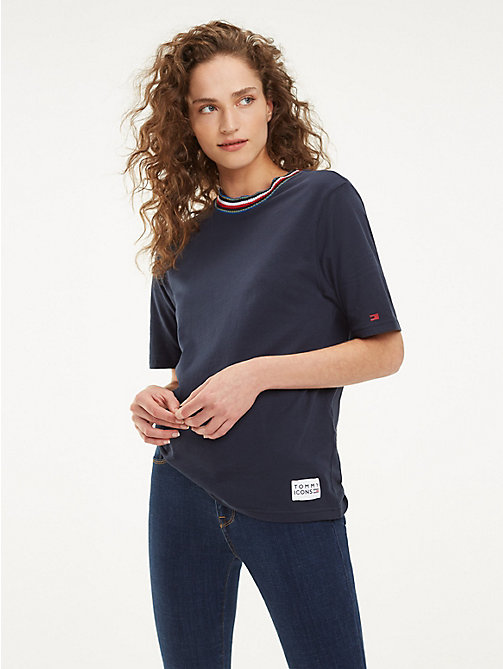 TOMMY HILFIGER T-shirt con collo a coste - MIDNIGHT - TOMMY HILFIGER T-Shirt - immagine principale