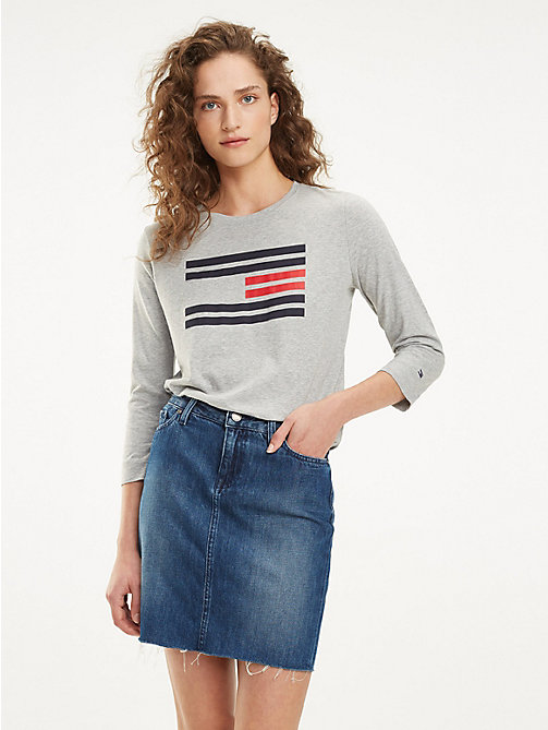 TOMMY HILFIGER Organic Cotton Flag T-Shirt - LIGHT GREY HTR - TOMMY HILFIGER T-Shirts - main image