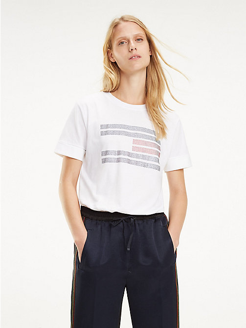 TOMMY HILFIGER T-shirt à logo en strass - CLASSIC WHITE / FLAG BLING - TOMMY HILFIGER Sustainable Evolution - image principale