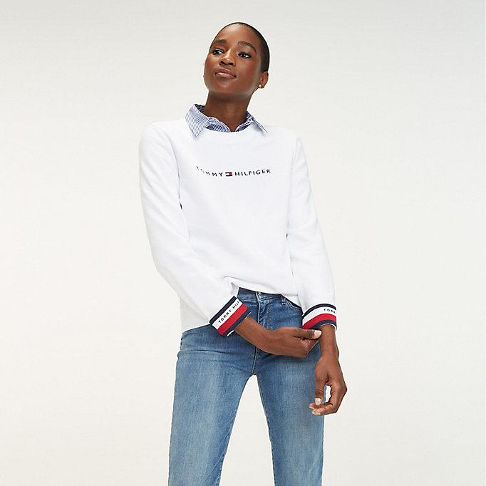 db3171238d2da4 Signature Tape Cuff Sweatshirt. TOMMY HILFIGER