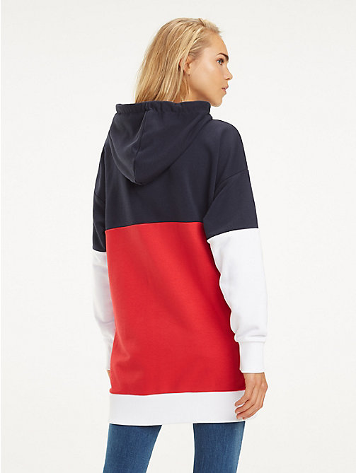 TOMMY HILFIGER Colour-Blocked Drawstring Hoody - MIDNIGHT / TRUE RED / WHITE - TOMMY HILFIGER Hoodies - detail image 1