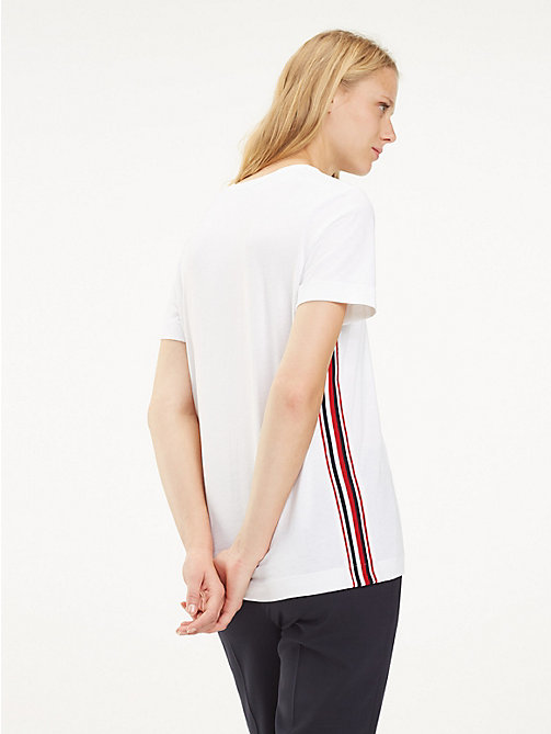 TOMMY HILFIGER Signature Tape T-Shirt - CLASSIC WHITE - TOMMY HILFIGER T-Shirts - detail image 1