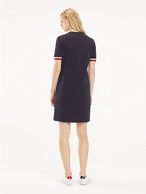 TOMMY HILFIGER Stripe Cuff Crew Neck Dress - MIDNIGHT - TOMMY HILFIGER Mini - detail image 1