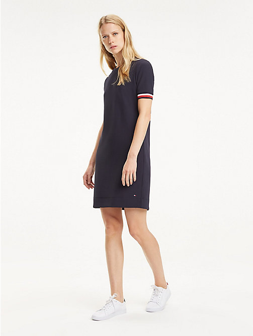 TOMMY HILFIGER Stripe Cuff Crew Neck Dress - MIDNIGHT - TOMMY HILFIGER Mini - main image