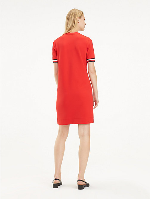 TOMMY HILFIGER Stripe Cuff Crew Neck Dress - TRUE RED - TOMMY HILFIGER Mini - detail image 1