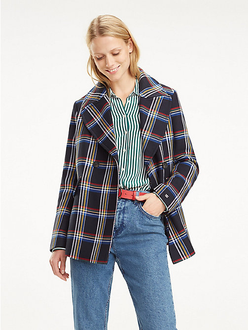 TOMMY HILFIGER Plaid Print Peacoat - OUTERWEAR CHECK / MIDNIGHT - TOMMY HILFIGER NEW IN - main image