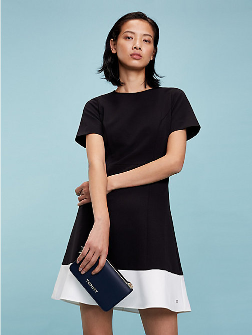 TOMMY HILFIGER Colour-Blocked A-Line Dress - BLACK BEAUTY - TOMMY HILFIGER Mini - main image
