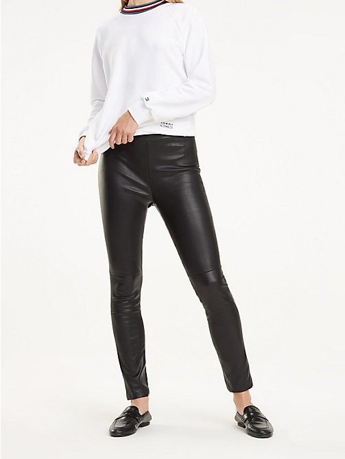 TOMMY HILFIGER Slim Fit Leather Trousers - BLACK BEAUTY - TOMMY HILFIGER Trousers - main image