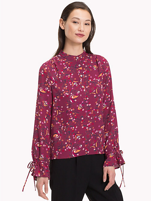 TOMMY HILFIGER Mandarin Collar Blouse - FOLKLORE FLORAL / CABARNET - TOMMY HILFIGER Black Friday Women - main image