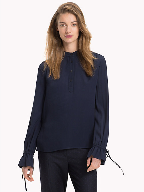 TOMMY HILFIGER Mandarin Collar Blouse - MIDNIGHT - TOMMY HILFIGER Black Friday Women - main image