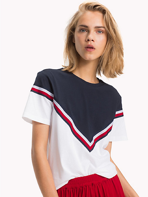 TOMMY HILFIGER Global Stripe Colour-Blocked T-Shirt - CLASSIC WHITE - TOMMY HILFIGER Signature stripes - detail image 1