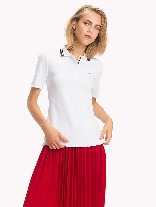 TOMMY HILFIGER Global Stripe Polo Shirt - CLASSIC WHITE - TOMMY HILFIGER Black Friday Women - main image