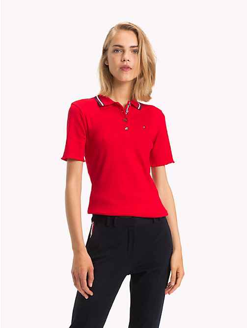 TOMMY HILFIGER Global Stripe Polo Shirt - TRUE RED - TOMMY HILFIGER Signature stripes - main image