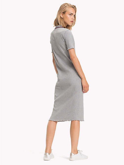 TOMMY HILFIGER Global Stripe Polo Dress - LIGHT GREY HTR - TOMMY HILFIGER Midi - detail image 1