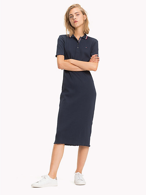 TOMMY HILFIGER Global Stripe Polo Dress - MIDNIGHT - TOMMY HILFIGER Midi - main image