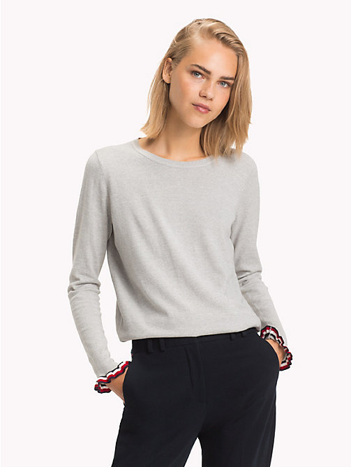 TOMMY HILFIGER Pullover girocollo con righe global - LIGHT GREY HTR - TOMMY HILFIGER Righe iconiche - immagine principale