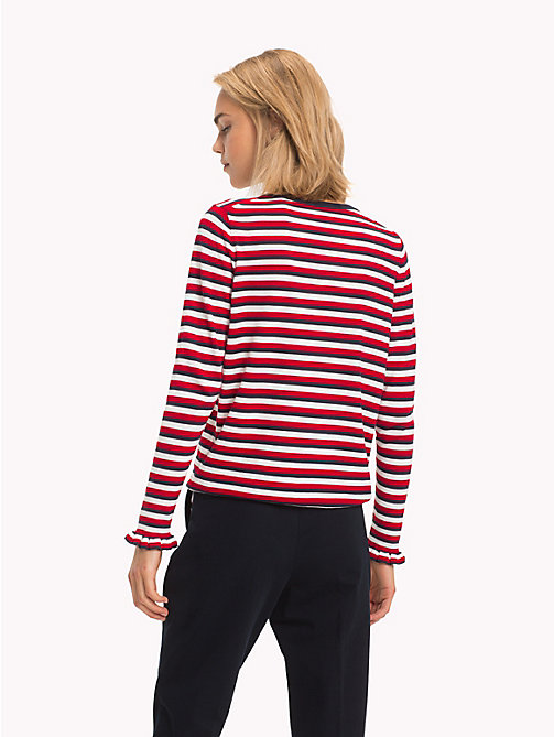 TOMMY HILFIGER Global Stripe Crew Neck Jumper - SKY CAPTAIN/SNOW WHITE/APPLE RED - TOMMY HILFIGER Signature stripes - detail image 1