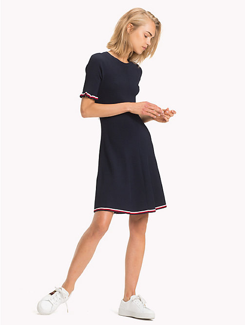TOMMY HILFIGER Global Stripe A-Line Dress - MIDNIGHT - TOMMY HILFIGER Signature stripes - main image