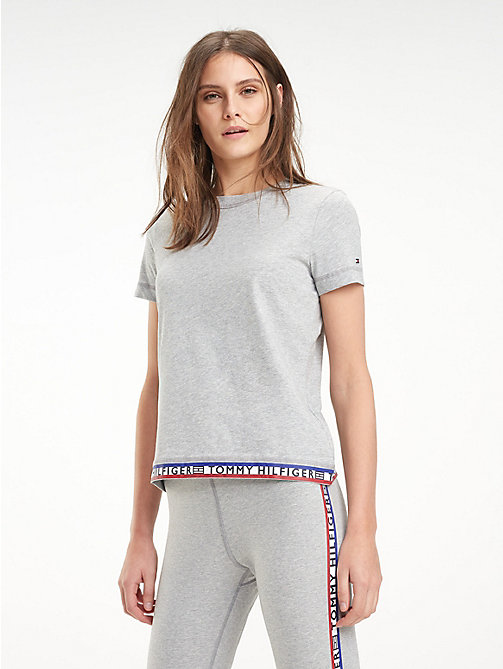 TOMMY HILFIGER Repeat Logo Crew Neck T-Shirt - LIGHT GREY HTR - TOMMY HILFIGER T-Shirts - main image