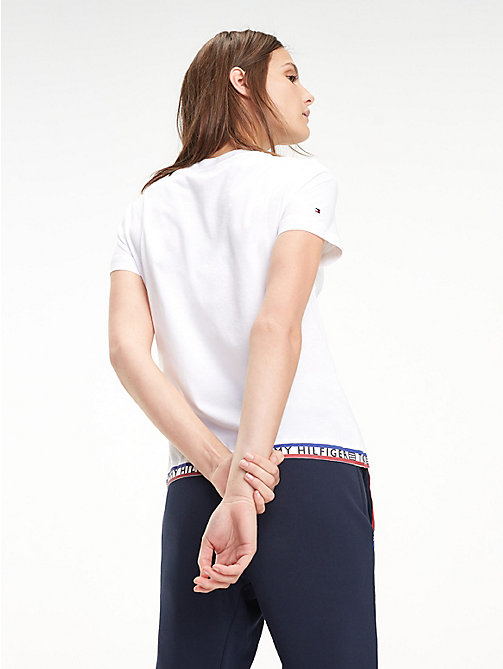 TOMMY HILFIGER Repeat Logo Crew Neck T-Shirt - CLASSIC WHITE - TOMMY HILFIGER T-Shirts - detail image 1