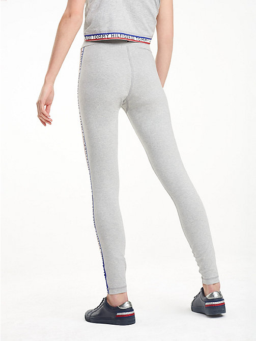 TOMMY HILFIGER Heathered Repeat Logo Leggings - LIGHT GREY HTR - TOMMY HILFIGER Joggers - detail image 1