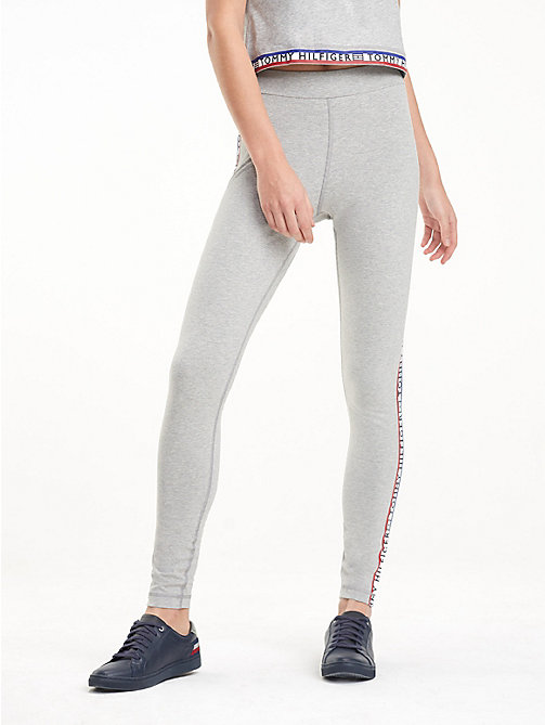 TOMMY HILFIGER Heathered Repeat Logo Leggings - LIGHT GREY HTR - TOMMY HILFIGER Joggers - main image