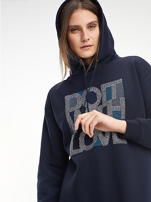 TOMMY HILFIGER Relaxed Fit Fleece Hoody - MIDNIGHT - TOMMY HILFIGER Winter Warmers - main image