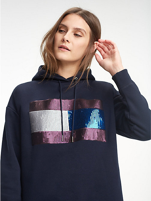TOMMY HILFIGER Relaxed Fit Fleece Hoody - MIDNIGHT / SEQUIN ARTWORK - TOMMY HILFIGER Hoodies - main image
