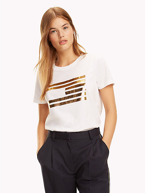 TOMMY HILFIGER Tommy Icons Metallic Logo T-Shirt - CLASSIC WHITE - TOMMY HILFIGER TOMMY ICONS - main image