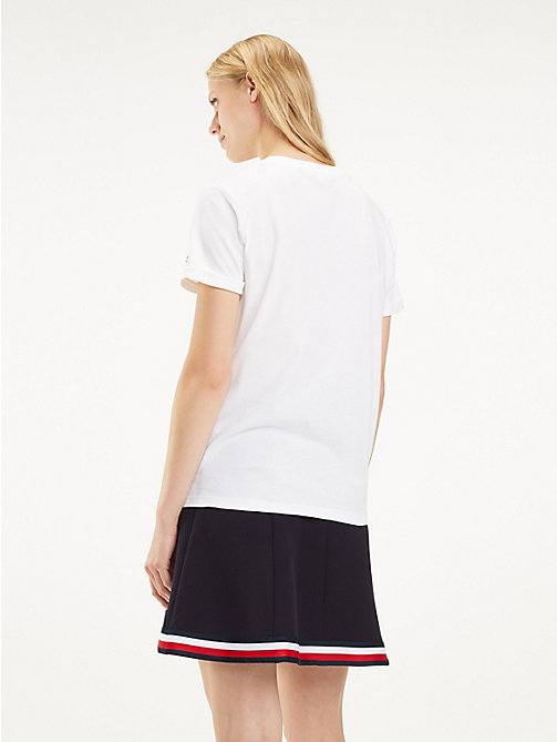 TOMMY HILFIGER Flag Logo T-Shirt - CLASSIC WHITE / REAL LOVE - TOMMY HILFIGER T-Shirts - detail image 1