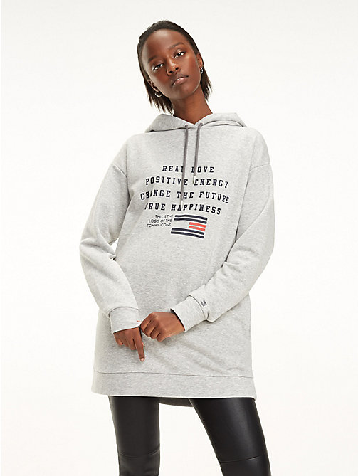 TOMMY HILFIGER Relaxed Fit Slogan Hoody - LIGHT GREY HTR - TOMMY HILFIGER Hoodies - main image