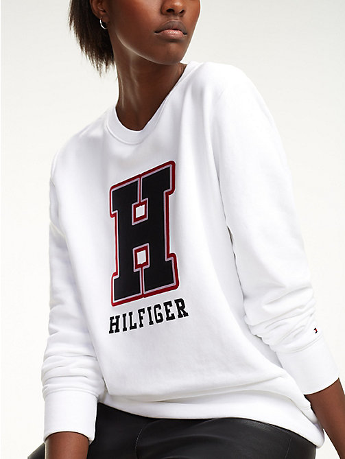 TOMMY HILFIGER Sweat à logo monogramme - CLASSIC WHITE - TOMMY HILFIGER Sweats - image principale
