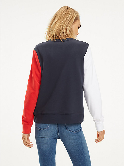 TOMMY HILFIGER Lightweight Crew Neck Sweatshirt - MIDNIGHT / TRUE RED / WHITE - TOMMY HILFIGER Sweatshirts - detail image 1