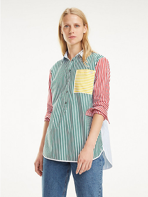 34e33de2fe35 blue organic cotton patchwork shirt for women tommy hilfiger