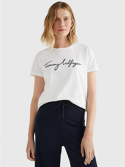 TOMMY HILFIGER Heritage Crew Neck Logo T-Shirt - CLASSIC WHITE - TOMMY HILFIGER T-Shirts - main image