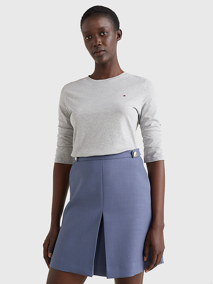 grey heritage three-quarter crew neck t-shirt for women tommy hilfiger