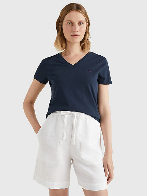 TOMMY HILFIGER Heritage V-Neck T-Shirt - MIDNIGHT - TOMMY HILFIGER Basics - main image