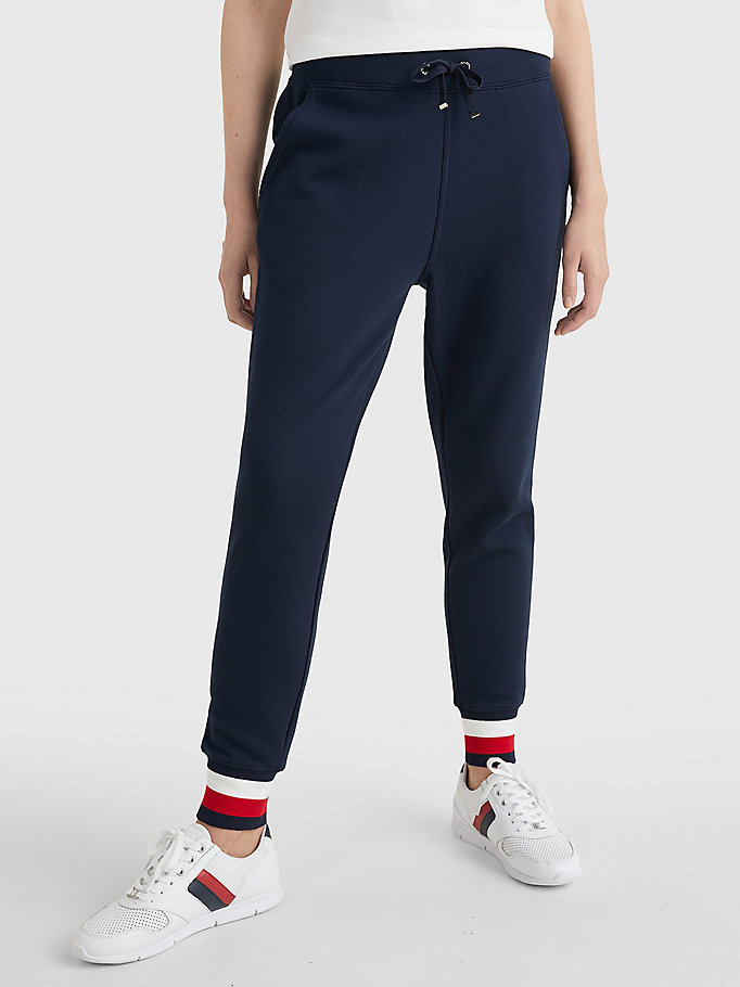 blue heritage contrast stripe joggers for women tommy hilfiger