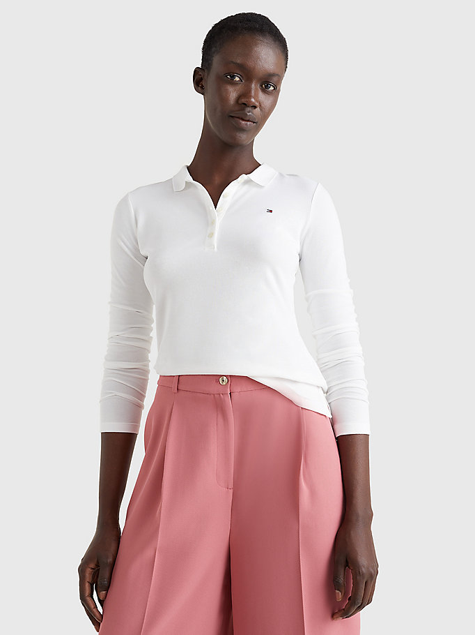 white heritage long sleeve polo shirt for women tommy hilfiger