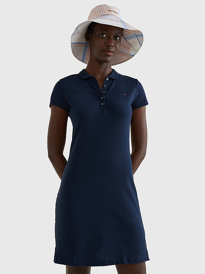blue heritage slim fit polo dress for women tommy hilfiger