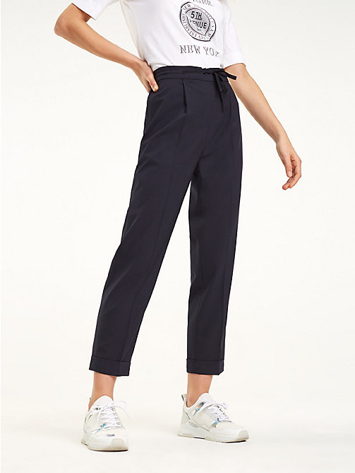 09567aa4a34638 blue essential th flex cuffed trousers for women tommy hilfiger