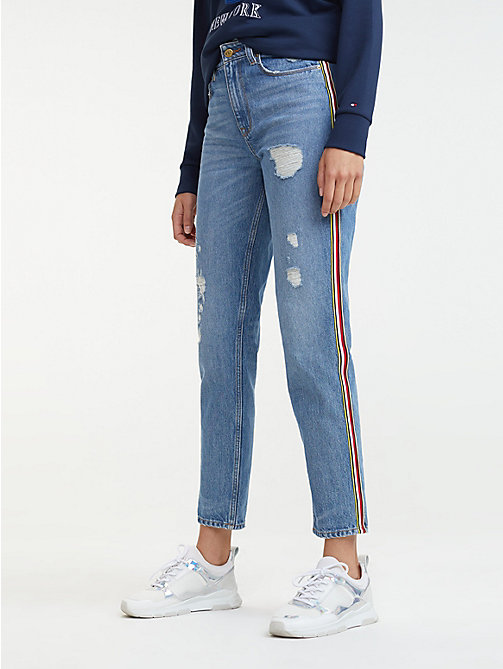 31c93537 TOMMY HILFIGERMom Fit Distressed Jeans