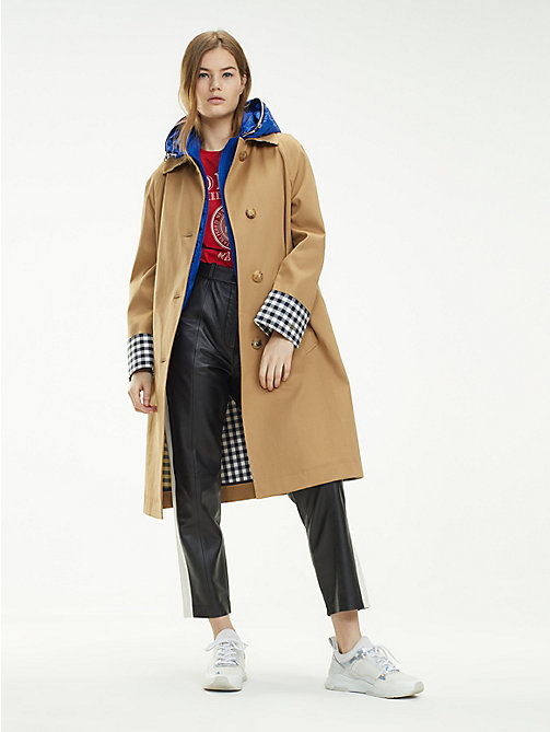 cf9f950f839 beige check cuff relaxed fit mac for women tommy hilfiger