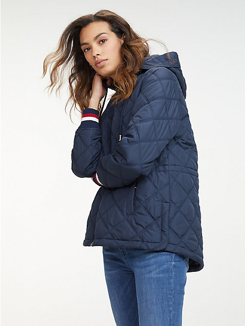 0fe147800579 blue signature tape quilted jacket for women tommy hilfiger