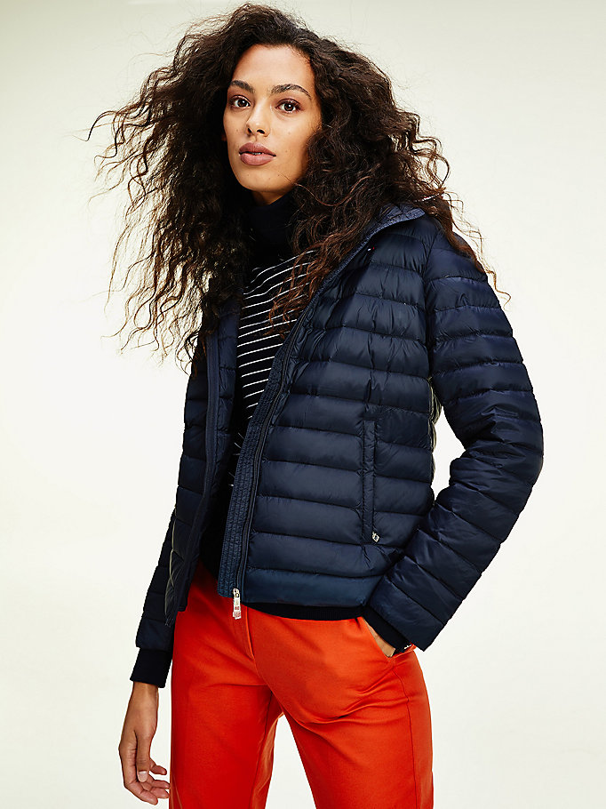 blue essential packable down jacket for women tommy hilfiger