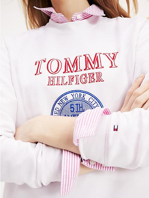 03968c79 white new york crest sweatshirt for women tommy hilfiger