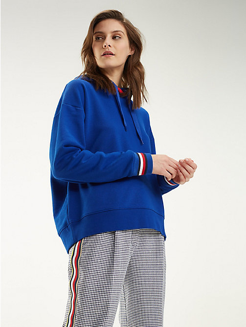 80303a9d4e9d4f blue signature tape hoody for women tommy hilfiger