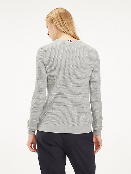 TOMMY HILFIGER Essential Vertical Knit Jumper - LIGHT GREY HTR - TOMMY HILFIGER Jumpers - detail image 1
