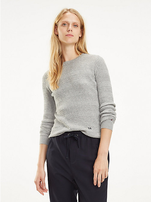 TOMMY HILFIGER Essential Vertical Knit Jumper - LIGHT GREY HTR - TOMMY HILFIGER Jumpers - main image